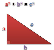 right triangle with two legs and hypotenuse labeled