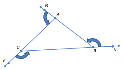 Image of triangle ABC with three exterior angles labeled