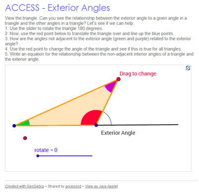 Image of interactive investigating the relationship between an exterior angle of a triangle and the two opposite, or remote, interior angles
