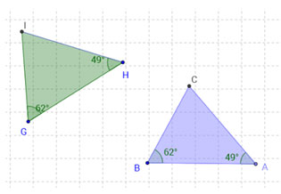 Two triangles with one pair of corresponding angles measuring 62 degrees and another pair of corresponding angles measuring 49 degrees