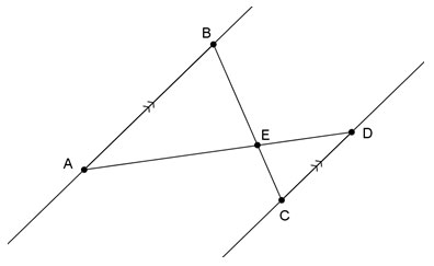Image of parallel lines crossed by additional lines that create triangles