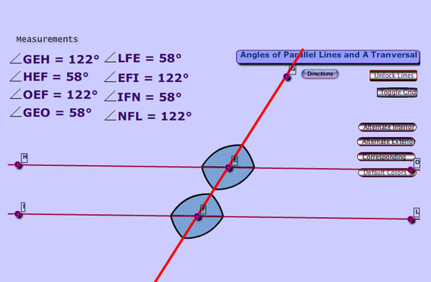 Image of an interactive that  identifies alternate interior, alternate exterior, and corresponding angles.