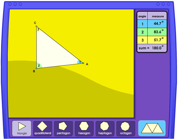 Image of an interactive that calculates the sum of the interior angles of a triangle