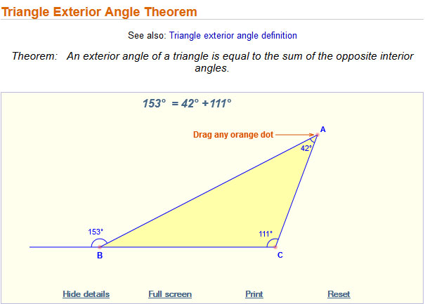 Image of an interactive that studies relationships between the measure of exterior angles and interior angles.