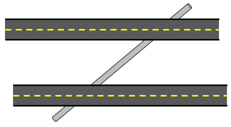 Image of parallel roads crossed by a pipeline
