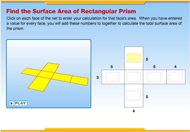 Image of the interactive website to find the surface area of rectangular prisms