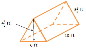 triangular prism with dimensions labeled