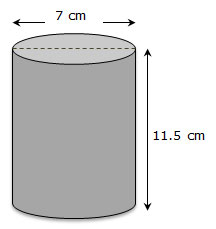cylinder with dimensions labeled