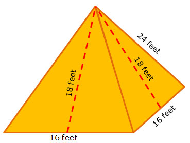 Pyramid with dimensions labeled