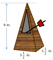 pyramid-shaped metronome with dimensions labeled