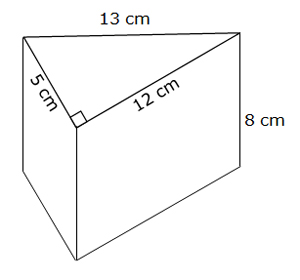 wedge shape with dimensions labeled
