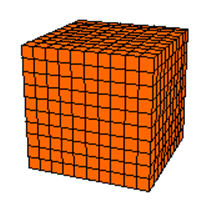 Cube with square units shown on each face