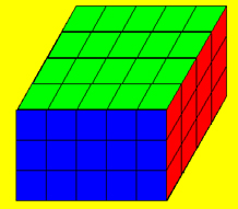 Prism composed of smaller cubes