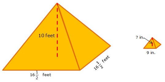 Large pyramid and small pyramid with dimensions labeled