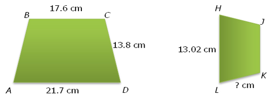 Similar trapezoids with dimensions labeled