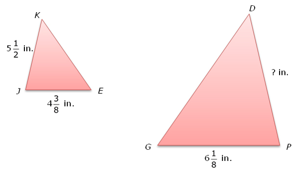 Similar triangles with dimensions labeled