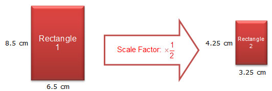 Two rectangles with dimensions and scale factor labeled