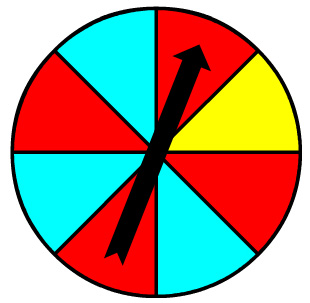 spinner with 4 red sections, 3 aqua sections, and 1 yellow section