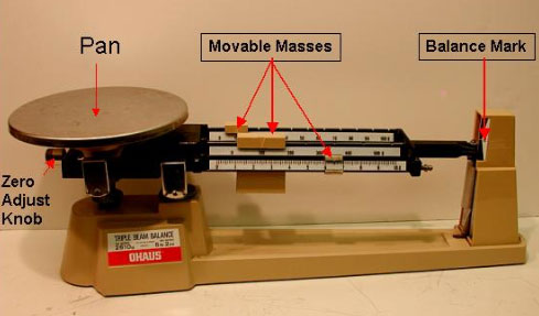 image is of a triple beam balance with parts labeled