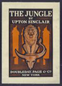 Image of Poster advertising book by Upton Sinclair, showing lion standing on skull of steer.