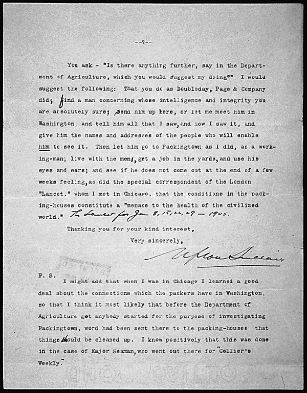 Image of page seven of a typed letter from Upton Sinclair to President Theodore Roosevelt.