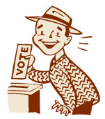 Image of a man placing a ballot marked 'vote' in a ballot box