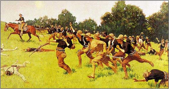 This painting depicts the Battle of San Juan Hill. The Rough Riders, including Theodore Roosevelt, are charging up a hill. Some men are on foot and others on horseback. The painting depicts the fallen Cubans as well as fallen Rough Riders.