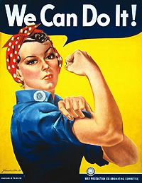 Image of a woman wearing a head scarf and flexing her muscle. The caption above reads, 'We Can Do It!'