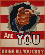 "Poster that reads, ""Are you doing all you can? The background is the stripes from the American flag; a pointing finger is broken through the poster."