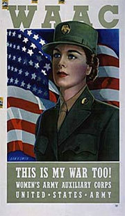 Poster of a woman in military uniform. The caption at the bottom reads: This Is My War