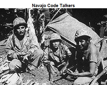 Image of three Navajo Code Talkers seated in front of a tent