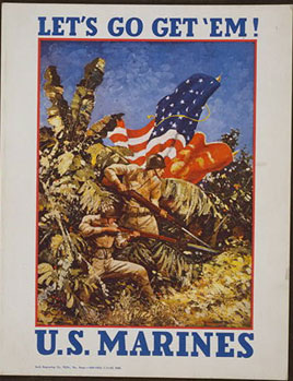 Poster of a group of Marines prepared for battle; a U.S. flag is in the background