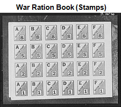 Image of a page of stamps from a war rations book