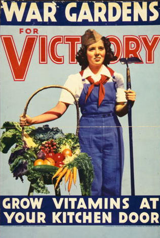 Image of a woman holding a garden hoe and a basket of vegetables.