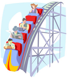A graphic of a roller coaster going downhill with businessmen and women in the seats.