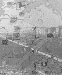 Image of a map of Berlin, superimposed over a photograph of the city of Berlin