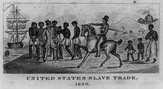 Drawing of slaves (men and children) chained together and a buyer on a horse pointing at them, located on a pier
