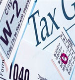 Image of a collage of tax related items