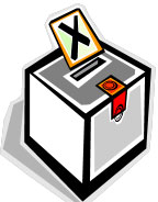 Image of a ballot box with a ballot in the slot