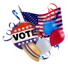 """Image of a collage of a button labeled, """"vote"""", and election straw hat, and red and white, and blue balloons"""