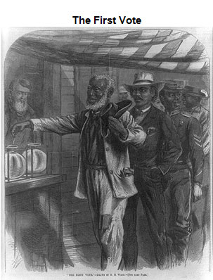 Cartoon depicting a line of African-American males (dressed in varying clothes indicated class, including a soldier) waiting to vote as an Anglo-American male looks on