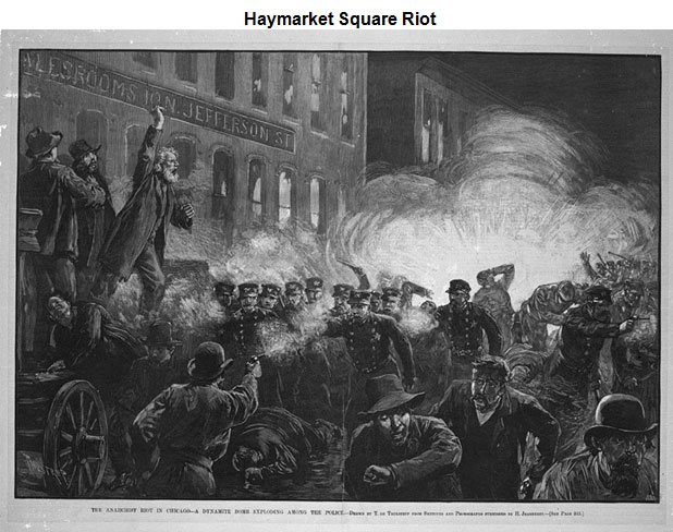 Image of a scene from the Haymarket Square Riot