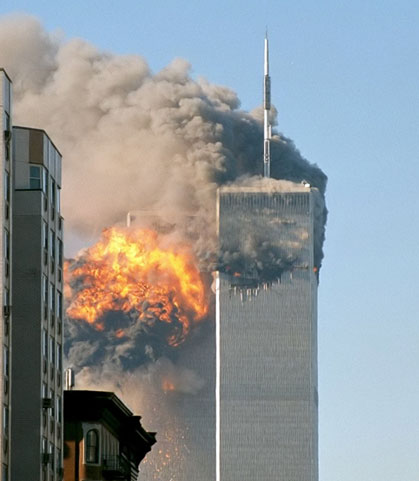 Image of the Twin Towers burning after the plane attacks