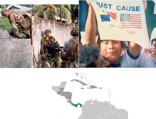 Image of a map of the southern part of North America, Central America, and the northern tip of South America, Image of three American soldiers jumping over a brick wall, Image of a Panamanian holding a sign that says 'Just Cause' with a Panamanian and United States flag side by side.