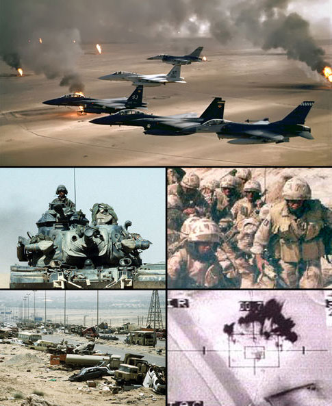 Collage of several military images from the Gulf War