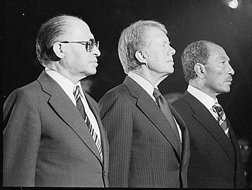 Image of Menahem Begin, Jimmy Carter and Anwar Sadat at Camp David