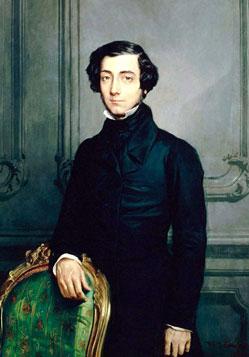 Image of a portrait of Alexis de Tocqueville standing behind a chair