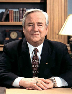 Image of Jerry Falwell seated at a desk