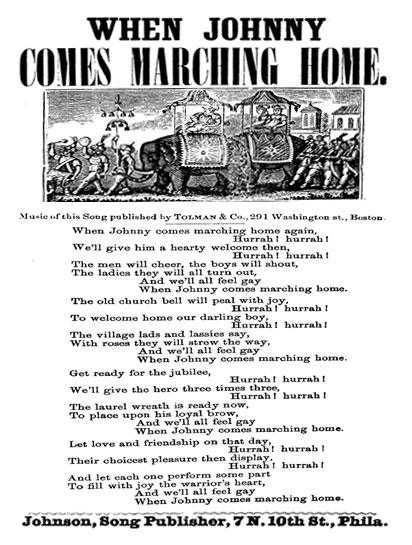 Image of the sheet music for when Johnny Comes Marching Home